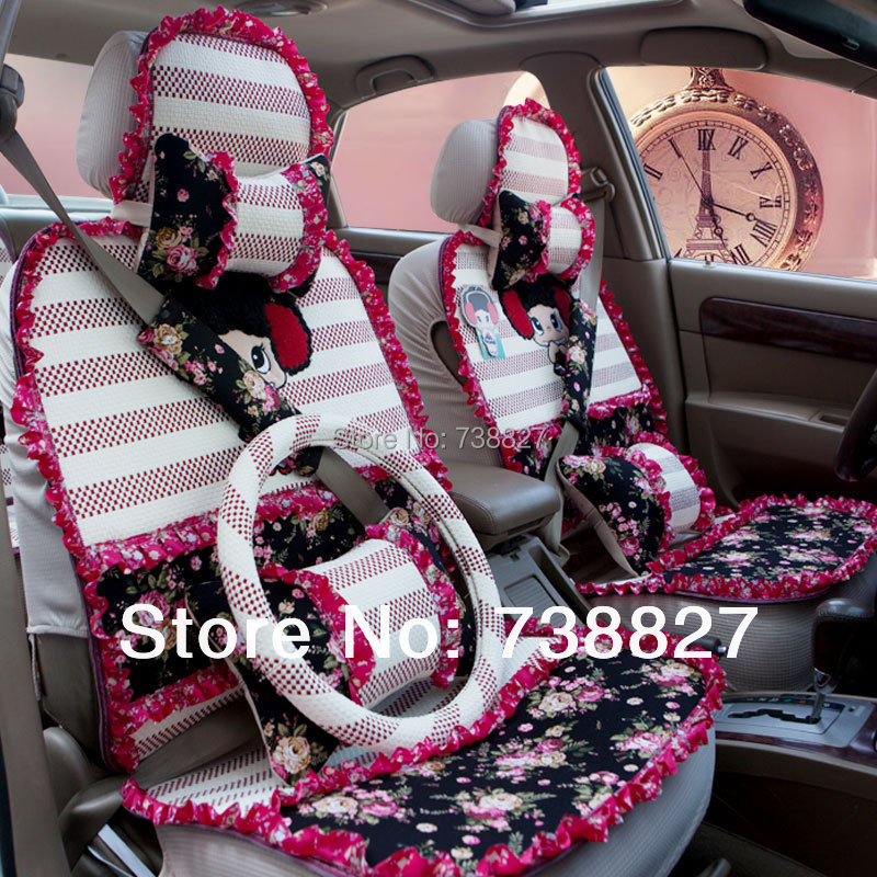 5 Color Car Covers Set Fiberflex Cute Baby Seat Cover Beautiful Lace Flower Cushions WOM0008 In Automobiles From