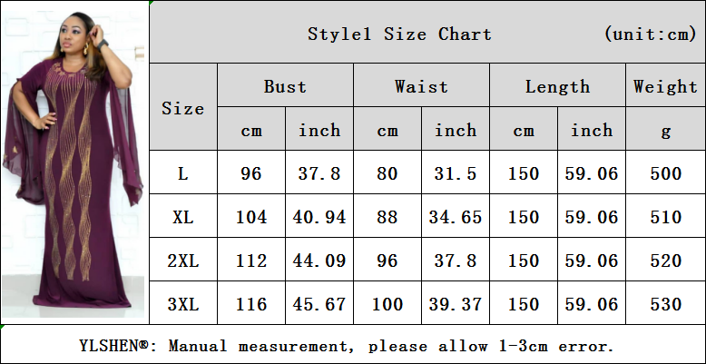 01 Style1 Size Chart L-3XL New African Dresses for Women Dashiki Diamond African Clothes Bazin Broder Riche Sexy Slim Ruffle Sleeve Robe Evening Long Dress