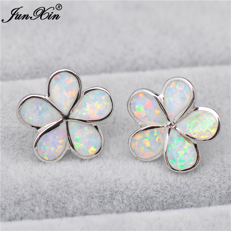 JUNXIN Cute Small Flower Stud Earrings Women White Fire Opal Earrings Fashion Silver Color Birthstone Jewelry Best Gift