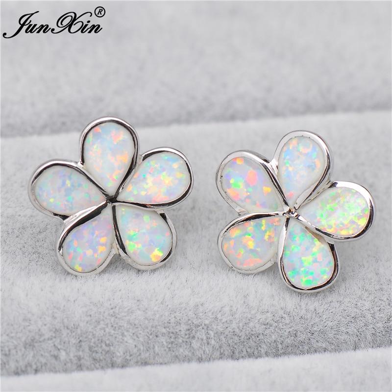 JUNXIN Cute Small Flower Stud Earrings Women White Fire Opal Earrings Fashion Silver Color Birthstone Jewelry Best Gift
