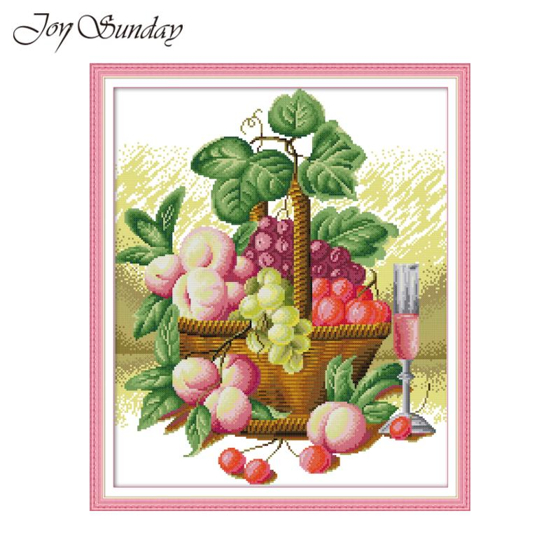 Stamped Cross Stitch Kit Pre-printed Pattern Home DIY Embroidery Fruit Basket