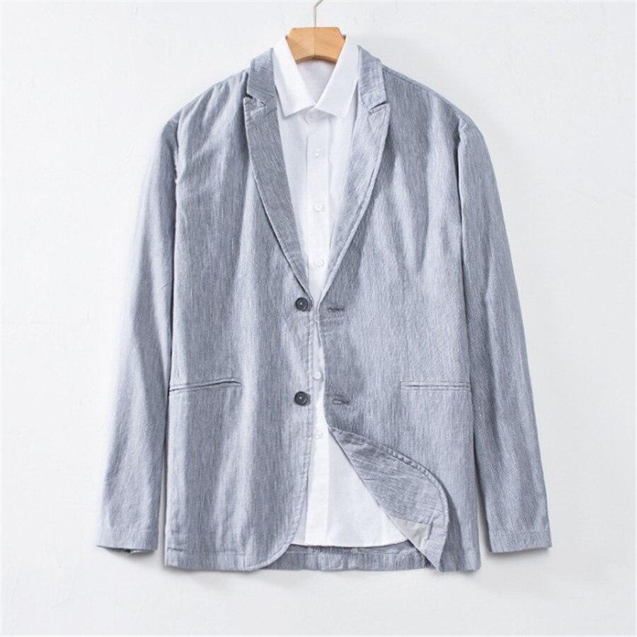 ลำลองฝ้ายผู้ชาย Blazer ฤดูร้อนบุรุษชุด Slim Fit Blazer Hombre เดียว Breasted Masculino Xl5085-ใน เสื้อเบลเซอร์ จาก เสื้อผ้าผู้ชาย บน   1