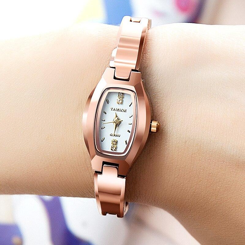 Bracelet Watch Tonneau-Dial Strap Quartz Rose-Gold Waterproof Fashion Tungsten Small