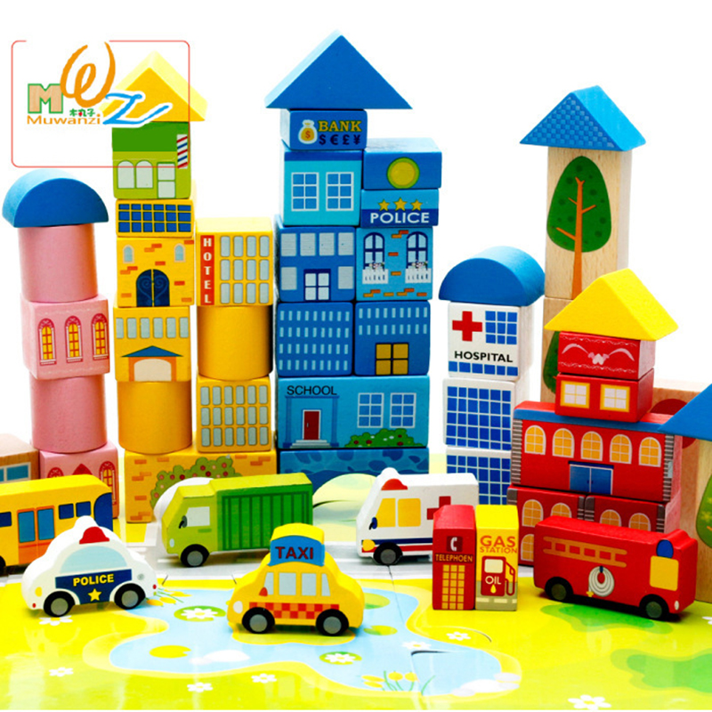 Baby Vehicle Blocks 62 For Grains Of Urban Traffic Scenes Large Wooden Good For Intelligence Children Toys Water-based Paint купить