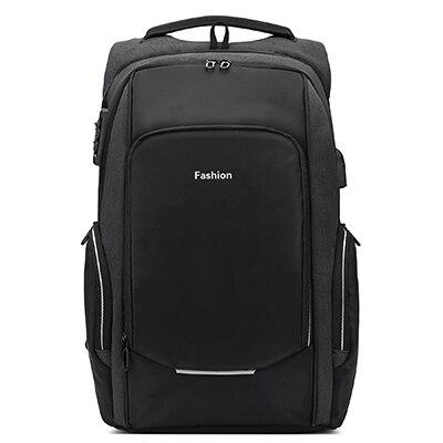 anti theft laptop backpack black