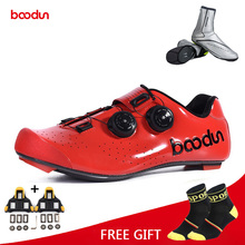 цена на Boodun Road Cycling Shoes Carbon Fiber Bike Shoes Men Self-Locking Racing Breathable Ultralight Professional Bicycle Sneakers