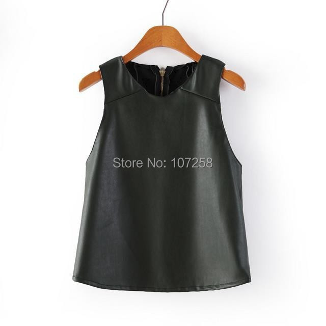 Manu 2015 New Fashion Casual PU Leather Casual Women Crop Tops Summer Leather Top