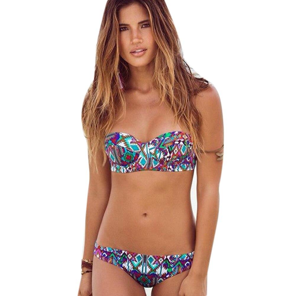 Women Bandage Bikini Swimsuit Two-piece Swimming Suit Women Girls Sexy Wire Free Beachwear Floral Bikini Swimwear Bathing Set roxy little girls how sweet it is tiki tri set two piece swimsuit