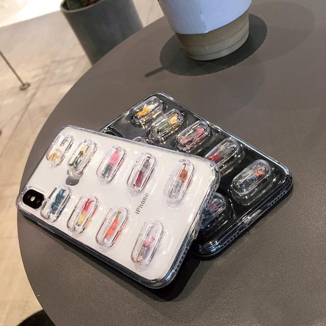 GlamPhoneCase Capsule personne coque de téléphone portable pour iphone X 8 8plus couverture arrière souple transparente pour iphone 7 6 6S 7plus 6plus 6S +