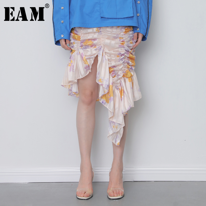 [EAM] 2020 New Spring Summer High Elastic Waist Half-body Ruffles Pleated Pattern Print Irregular Skirt Women Fashion Tide JY078