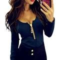Молнии Повседневная Пуловеры футболки С Длинным Рукавом Bodycon Тонкий Рубашка Blusas Mujer Vetement Femme Весной 2017 Мода LJ8111U