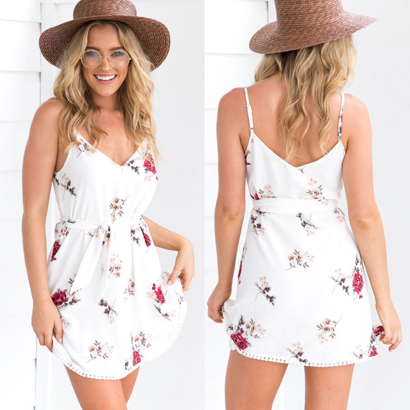 New Arrivals Women Sleeveless Floral Summer Ladies Fashion Chiffion Beach Women Sexy V-neck Bodysuit