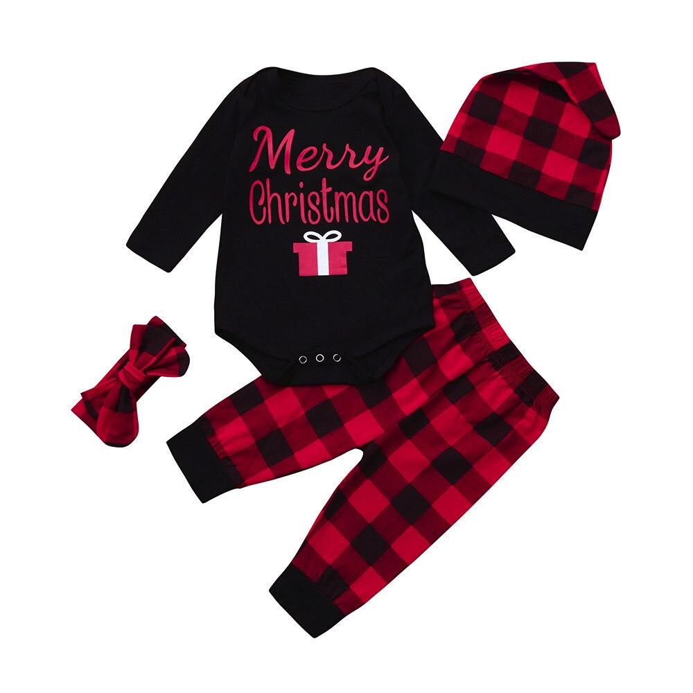 Newborn Girls Boys Girl Christmas Letter Tops+ Plaid Pants Outfits Clothes Set roupa infantil menino baby kleding girls clothes
