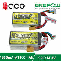 Ace Tattu R-Line 1.0 LiPo Rechargeable Battery 1050 1300 1550mAh 95C 14.8V 22.2V 4s1p 6s1p for RC FPV Racing Drone Quadcopter