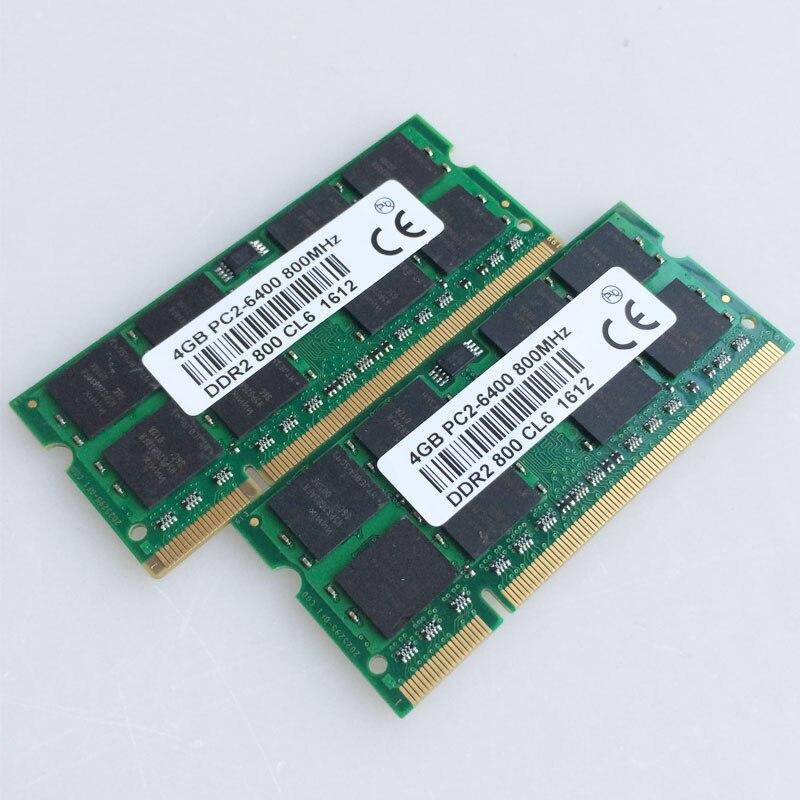 2x4 GO PC2-6400S DDR2-800 800 Mhz DDR2 Mémoire Pc Portable CL6.0 SODIMM Ordinateur Portable RAM Non-ecc 200pin 2RX16 Basse densité