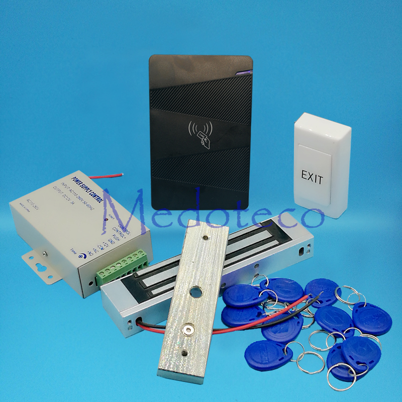 No Keypad 125khz Rfid Card Glass Door Access Control System Kit EM Card Access Controller +350lbs Magnetic Lock +Power Supply