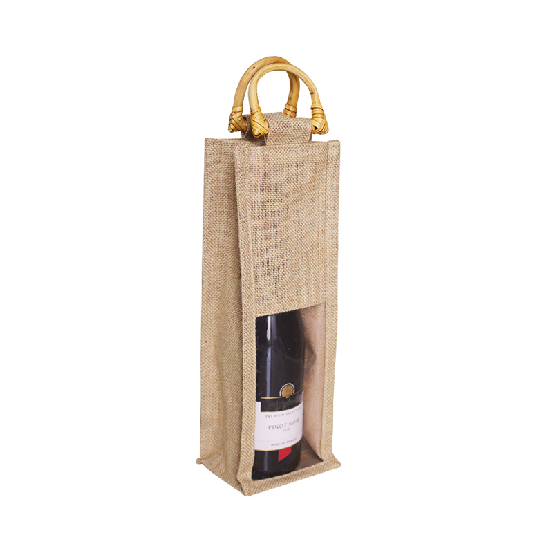 wholesale 1000PCS/lot Natural burlap Linen/jute wine gift bottle bags wine pouches wedding favor bags recycled Custom Logo, Size