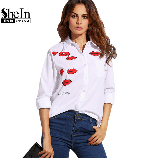 SheIn Casual Womens Blouses For Summer Autumn Ladies White Lapel Long Sleeve Lip Print High Low Blouse With Pocket