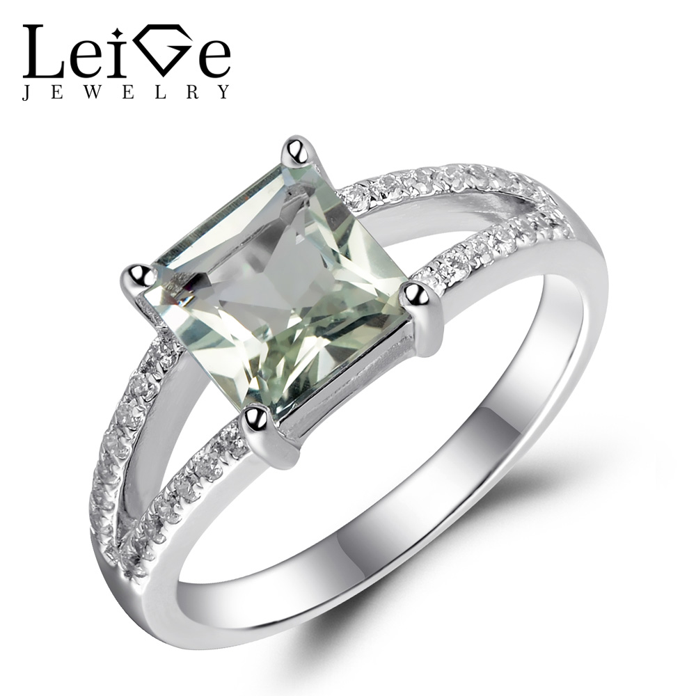 Leige Jewelry Natural Green Amethyst Ring 925 Sterling Silver Green Engagement Wedding Rings for Women Princess Cut 1.62 ctsLeige Jewelry Natural Green Amethyst Ring 925 Sterling Silver Green Engagement Wedding Rings for Women Princess Cut 1.62 cts