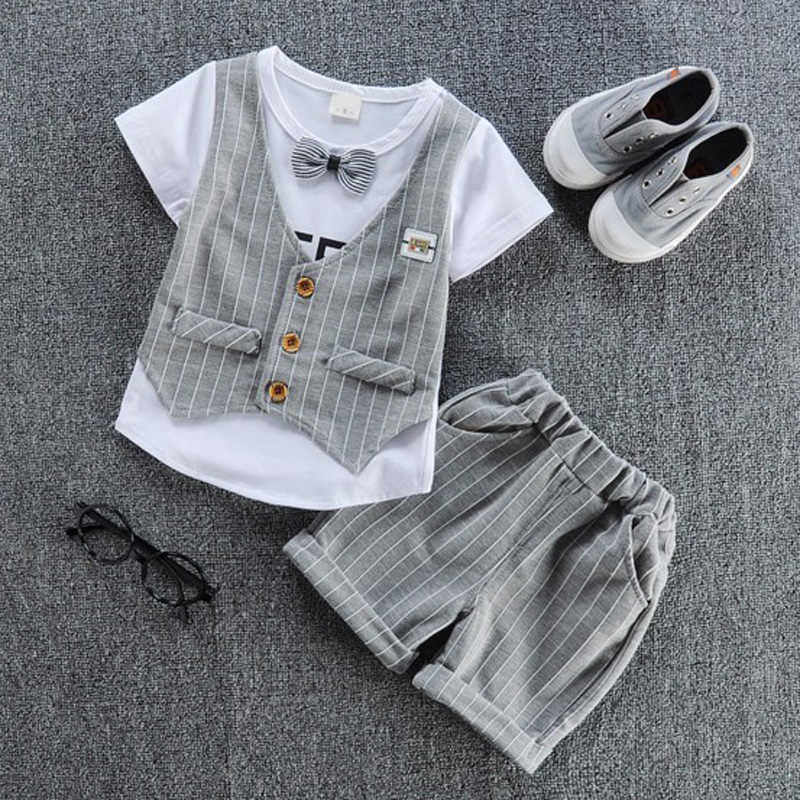 d6afd3d4a ¡2019 niños guapo ropa de niños camiseta casual con la falsa chaleco +  pantalón 2