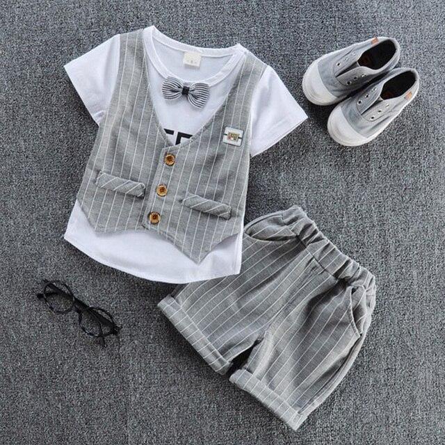 2019 ילדים נאה בגדי ילדים מזדמנים חולצה עם מזויף אפוד + צפצף 2 יח'\סט בני אופנה קיץ סטים.