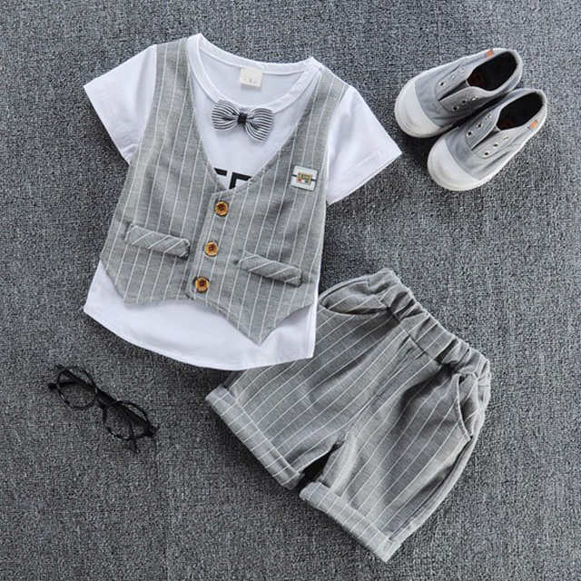 2019 children handsome clothing kids casual T-shirt with fake vest+ pant 2Pcs/set boys fashion summer sets.