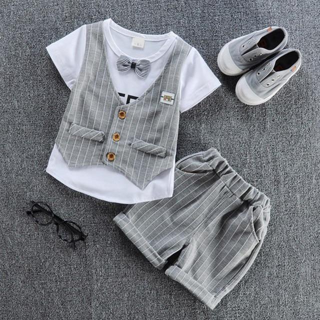 2019 trẻ em đẹp trai quần áo trẻ em casual T-Shirt với vest giả + quần 2 cái/bộ chàng trai thời trang mùa hè bộ.