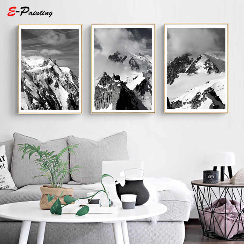 Modern Wall Art Scandi Prints Grey and White Triptych Mountain Print Landscape Printable Canvas Painting Poster