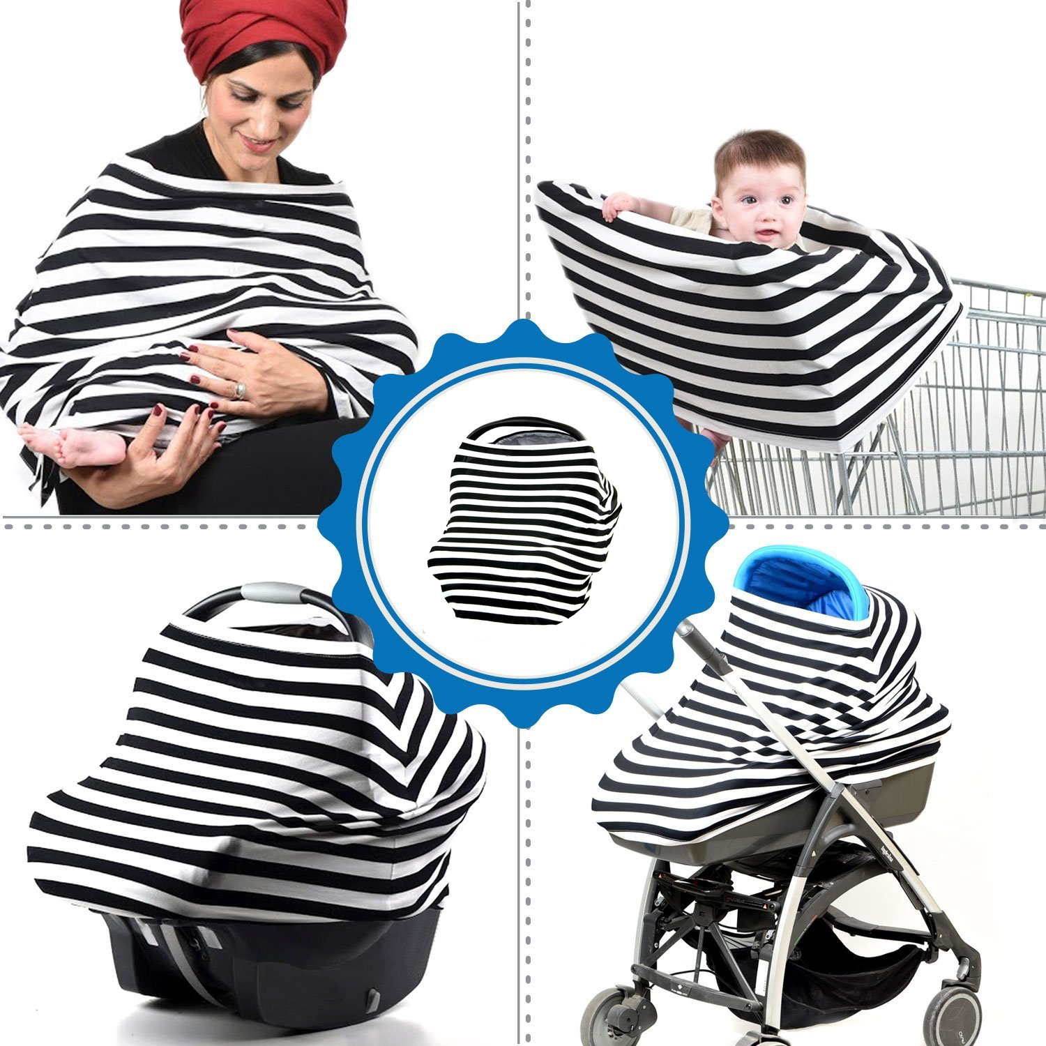 3 in 1 Nursing Covers Breastfeeding & Baby Car Seat Cover canopy, Universal Fit for Newborn baby boy and girl
