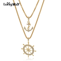 LongWay Newest 18K Gold Plated Double Layer Friendship Long Necklace Crystal Anchor Shape Pendant Women Jewelry