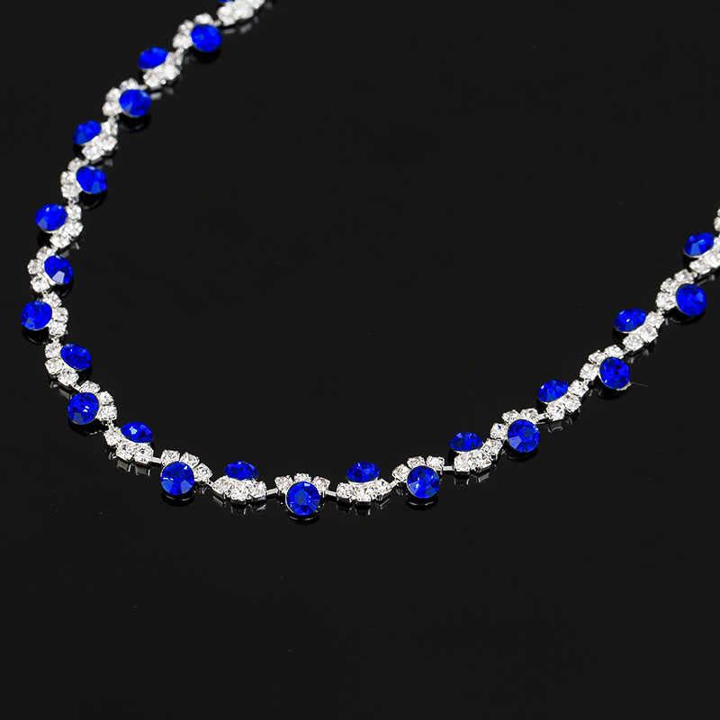 2017 نساء الأزرق مجوهرات الأزياء مجموعات Nechlace و الزفاف الزفاف الشظية مطلي أقراط حجر فضة مطلية للحزب N213