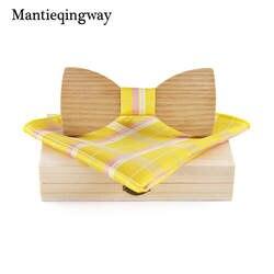 Mantieqingway деревянный галстук-бабочка Bowknots Свадебная вечеринка плед галстуки дерева бабочка + платок наборы для мужской костюм