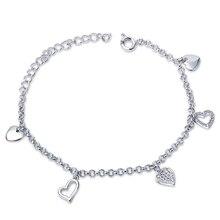 Ganga Ventas Calientes Del Envío Libre en forma de Corazón zirconia Cúbica Sintética de Lujo Hermoso del encanto de la pulsera para las señoras