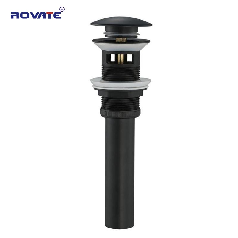 ROVATE Bathroom Pop-Up Drain with Overflow Brass Oil Rubbed Bronze for Basin Waste Black Stopper DrainROVATE Bathroom Pop-Up Drain with Overflow Brass Oil Rubbed Bronze for Basin Waste Black Stopper Drain