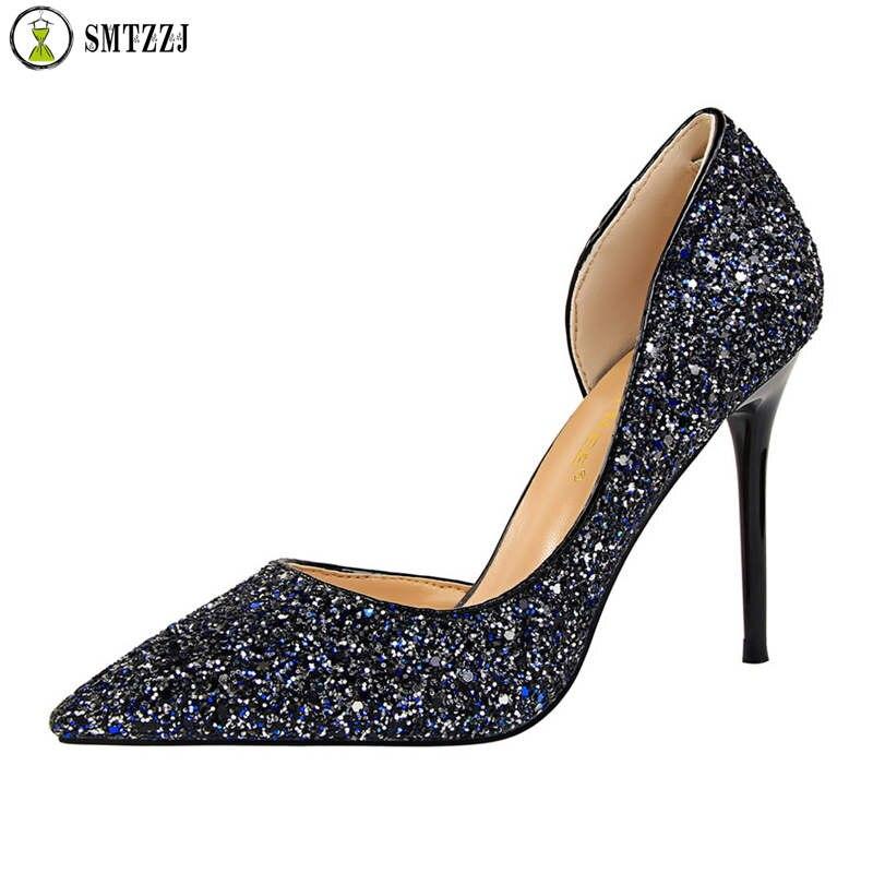 Women Pumps Wedding-Stiletto Rhinestone Party Bling Pointed-Toe High-Heels Designer Ladies