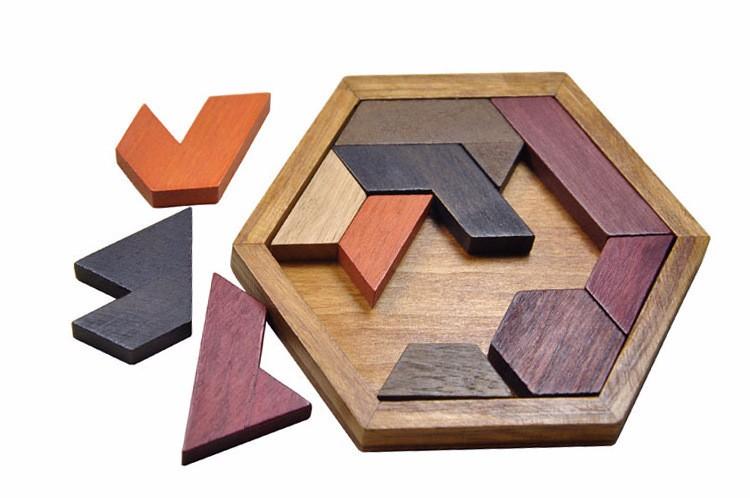 Kids Puzzles Wooden Toys Tangram/Jigsaw Board Wood Geometric Shape P Children Educational Toys 12
