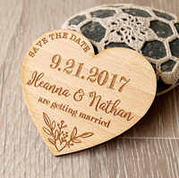 Customized hearts Bride Groom names wooden Wedding Save the Date Magnets engagement party favors company gifts