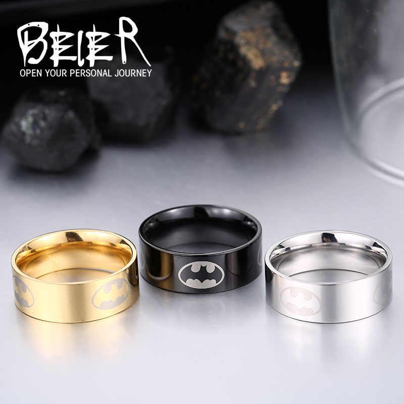 Beier new store 316L แหวนสแตนเลสคุณภาพสูง Batmen สำหรับผู้หญิง/ผู้ชายสไตล์คลาสสิกแฟชั่นเครื่องประดับ BR-R046