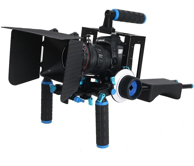 Lightdow 4 in 1 DSLR Rig Kit Shoulder Mount Rig + Matte Box +Follow Focus+Dslr Cage for DSLR Cameras and Video Camcorders yelangu aluminum alloy camera video cage kit film system with video cage top handle grip matte box follow focus for dslr