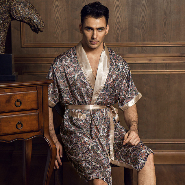 Summer Noble Sexy Satin Silk Men s Robe Fashion Printed Half-Sleeve Male  Bathrobes Kimono V e16a56f13