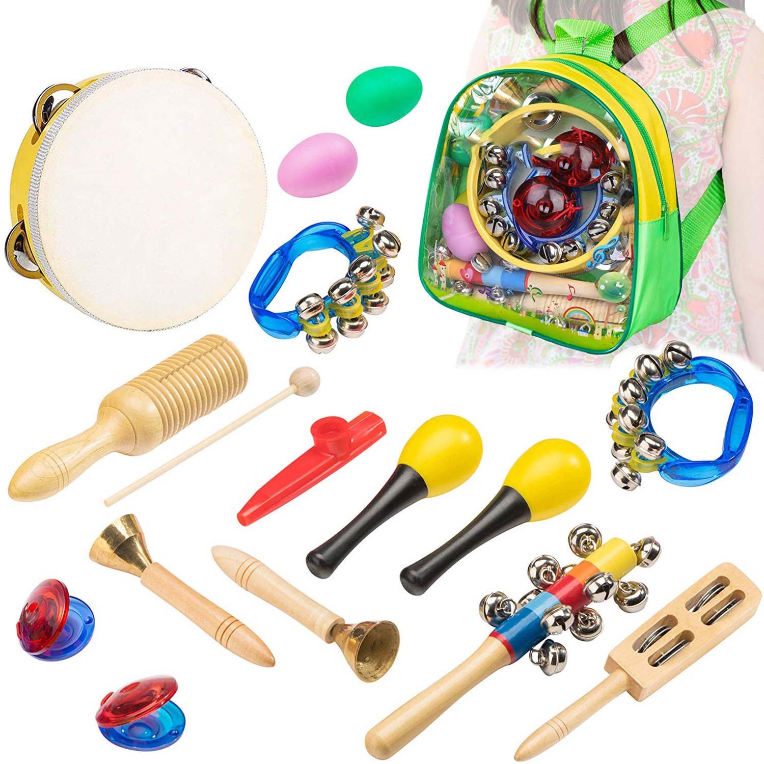 HOT-Musical Instrument Orff for Kids - 15 pcs Percussion Set for Toddlers Preschool Educational Learning Musical Toys Includin