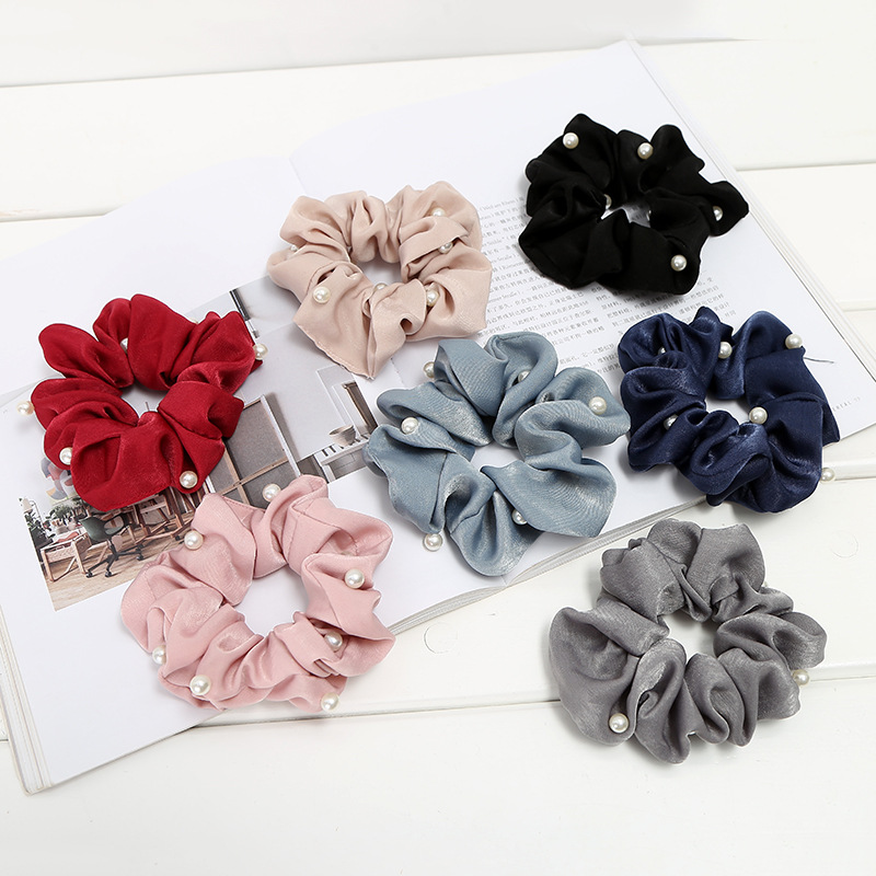 Hair Accessories Scrunchie With Pearls Hairbands For Women'S Fabric Bracelet Solid Ponytail Holder Bezel Girls Silk Hair Ties