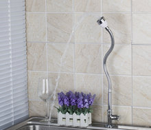 Yanksmart Chrome латунь поворотным изливом Смеситель для кухни DL8551-4 одной холодной воды 360 Вращающийся для мытья посуды умывальник, краны