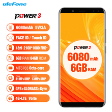 Ulefone Power 3 4G Mobilephone Android 7.1 6.0'' MTK6763 Octa Core Smartphone 6GB 64GB Hi-Fi Face Recognition Quad Cam 6080mAh(China)