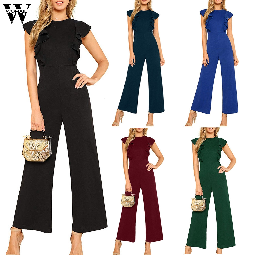 Womail Bodysuit Women Fashion Chiffon Sleeveless Solid Casual Loose Simple Beach Ladies Wide Leg Long Jumpsuits Holiday J711