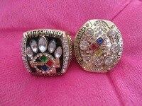 Envío de la gota 2 unids/lote Envío de La Gota 2005 2014 Pittsburgh Steelers Super Bowl Anillo de Campeón de Réplica Tamaño Grande 11 anillo de Deporte