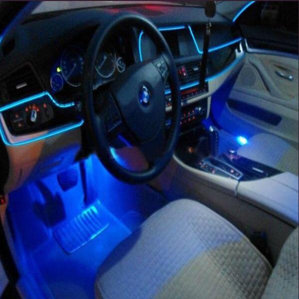 Światła samochodowe 6mm krawędź do szycia lampa neonowa oświetlenie dekoracyjne samochodu elastyczny podświetlany przewód rura linowa taśma LED gniazdo zapalniczki samochodowej wtyczka
