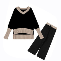 Rlyaeiz Brand New 2018 Autumn Fashion 2 Piece Set Women Sporting Suits Knitting Pullovers + Pants Sporting Wear Female Tracksuit