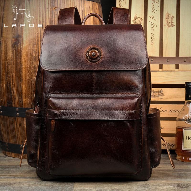 LAPOE genuine leather backpack men mochila hombre vintage Crazy Horse leather backpack travel bags school lederen rugzak mannen