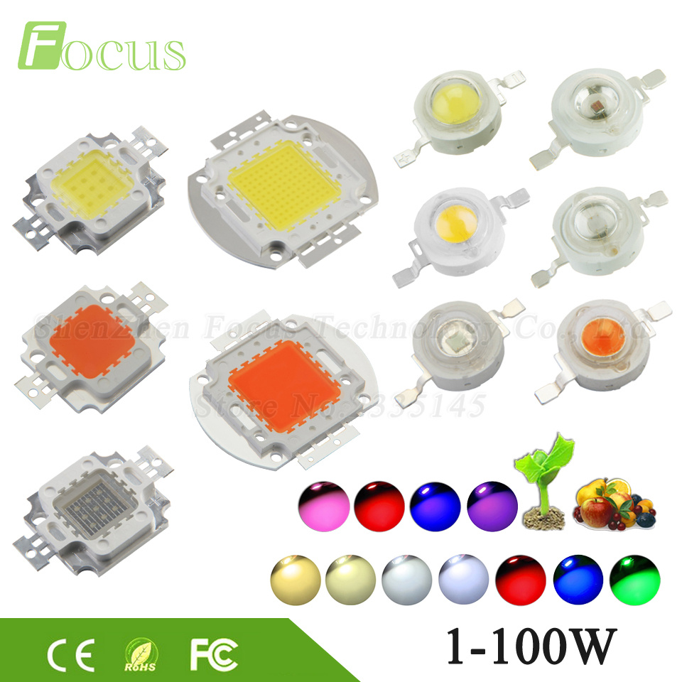 Cob Led Verlichting High Power Led Chip 1w 3w 5w 10w 20w 30w 50w 100w Smd Cob Light Bead Warm Cold White Red Green Blue Rgb Full Spectrum Grow